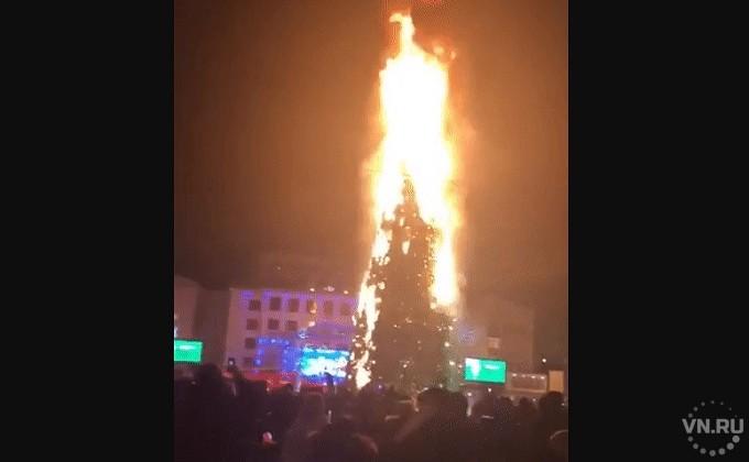 Безуспешная петарда: названа причина возгорания елки вЮжно-Сахалинске